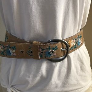 Express embroidery tan suede belt